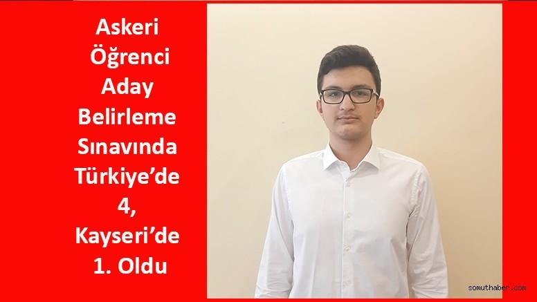 Askeri Öğrenci Aday Belirleme Sınavında Türkiye'de 4, Kayseri'de 1. Oldu