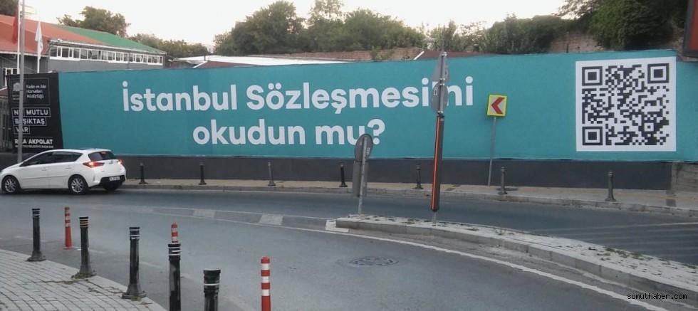 Beşiktaş Belediyesi'nden QR Kodlu İstanbul Sözleşmesi Billboardu