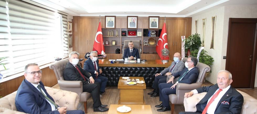 """Büyükkılıç ve Başkanlardan MHP'nin Yeni İl Başkanına """"Hayırlı Olsun"""" Ziyareti"""
