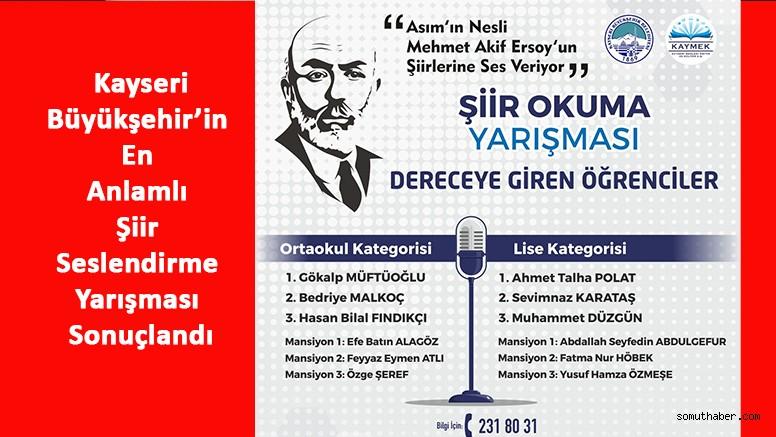 Büyükşehir'in En Anlamlı Şiir Seslendirme Yarışması Sonuçlandı