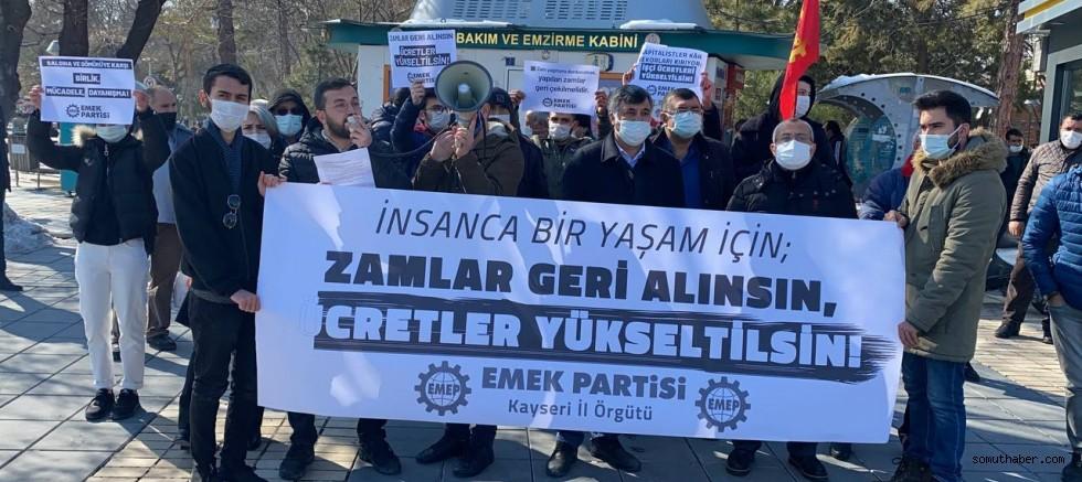 """EMEP Kayseri: """"İnsanca Bir Yaşam İçin Zamlar Geri Alınsın, Ücretler Yükseltilsin"""""""