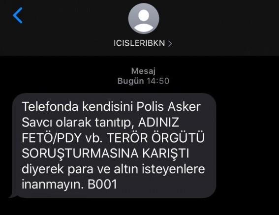 İçişleri Bakanlığı'ndan SMS'li 'FETÖ' uyarısı