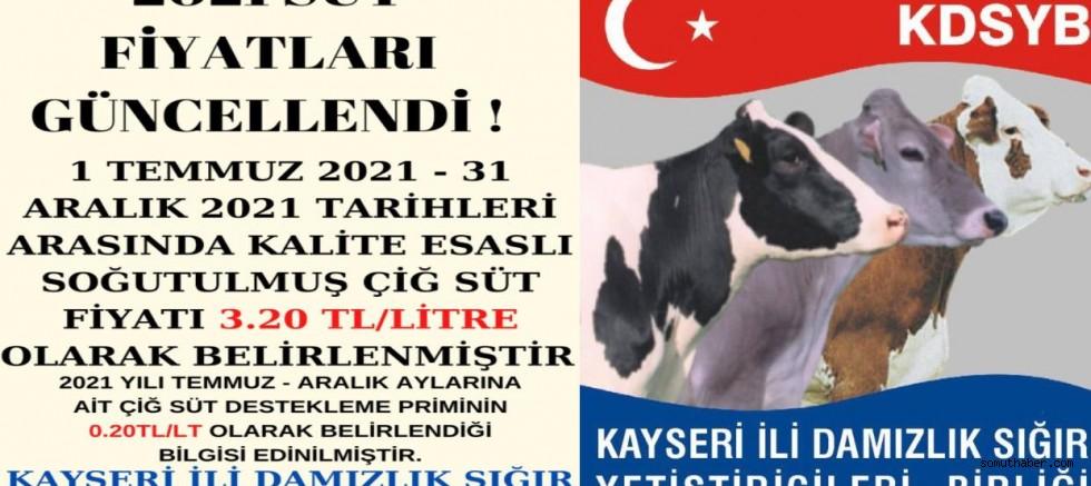 Kayseri'de 2021 Çiğ Süt Alım Fiyatları Açıklandı
