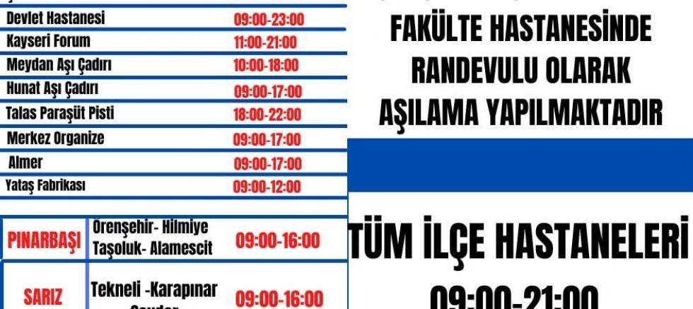 Kayseri'de 4 Eylül Randevusuz Aşı Uygulama Merkezleri