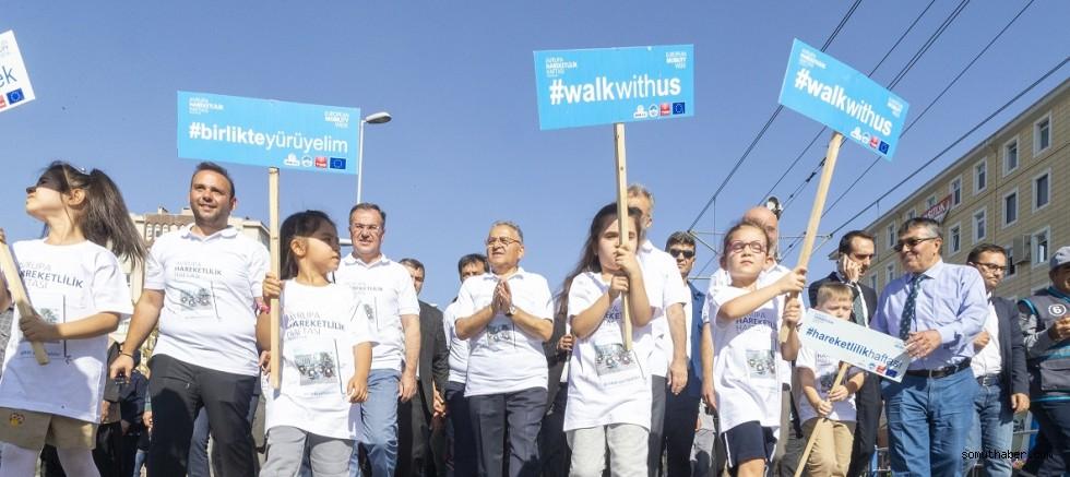 Kayseri'de 'Avrupa Hareketlilik Haftası' Yürüyüşü