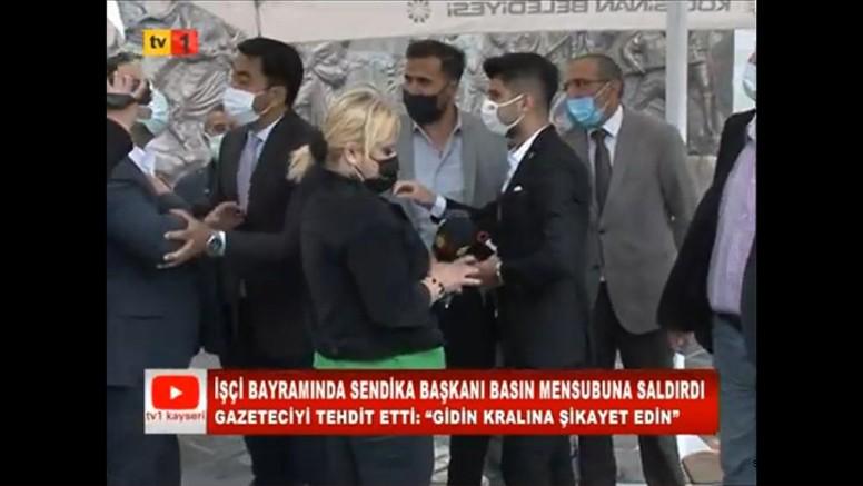 Kayseri'de İşçi Bayramında Sendika Başkanı Basın Mensubuna Saldırdı