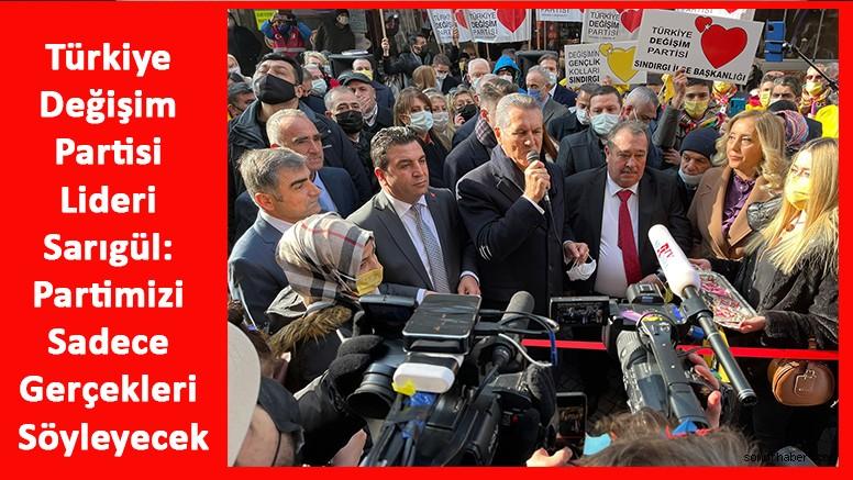 Türkiye Değişim Partisi Lideri Sarıgül: Partimizi Sadece Gerçekleri Söyleyecek