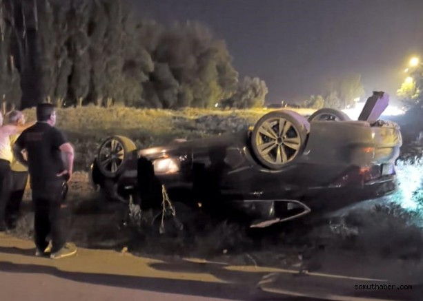 Virajı Alamayan Otomobil Takla Attı: 2 Yaralı